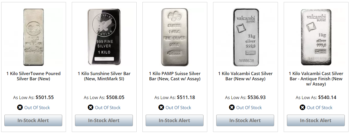 JM Bullion Out of Stock